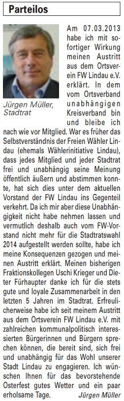 Artikel in der Bürgerzeitung Ausgabe 12/2013