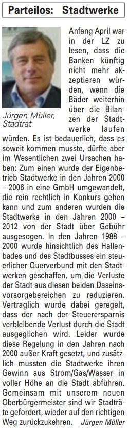 Artikel in der Bürgerzeitung Ausgabe 16/2013