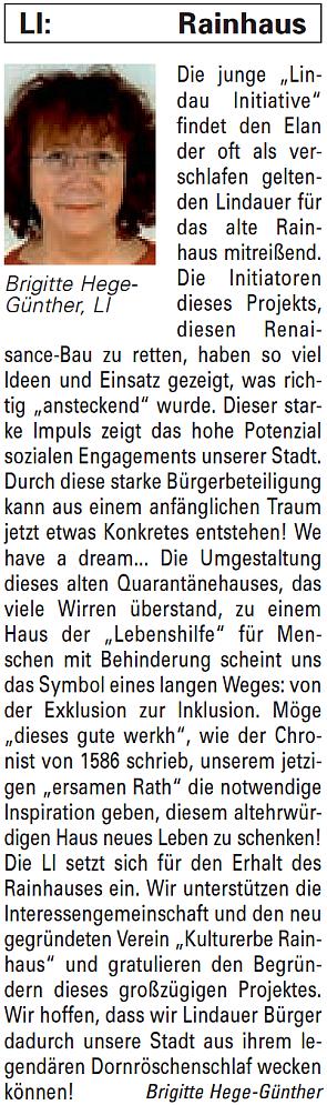 Artikel in der Bürgerzeitung Ausgabe 37/2013