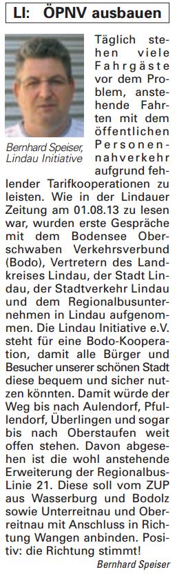 Artikel in der Bürgerzeitung Ausgabe 39/2013