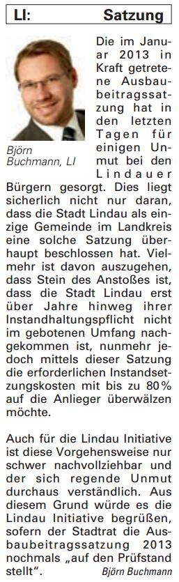 Artikel in der Bürgerzeitung Ausgabe 41/2013