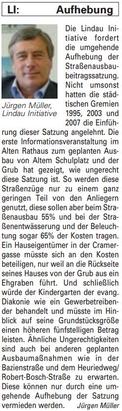 Artikel in der Bürgerzeitung Ausgabe 47/2013