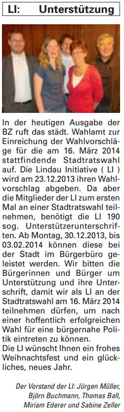 Artikel in der Bürgerzeitung Ausgabe 51/2013