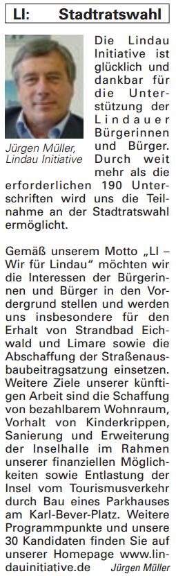 Artikel in der Bürgerzeitung Ausgabe 04/2014