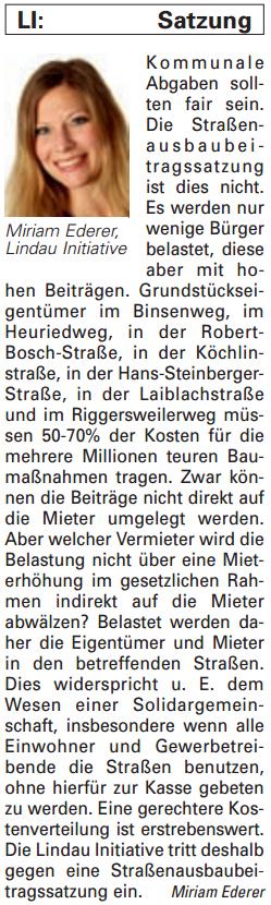 Artikel in der Bürgerzeitung Ausgabe 06/2014