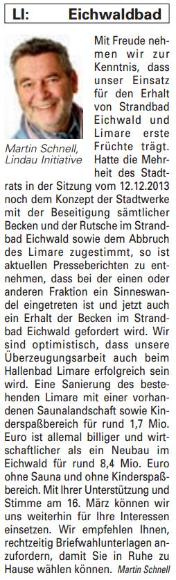 Artikel in der Bürgerzeitung Ausgabe 08/2014